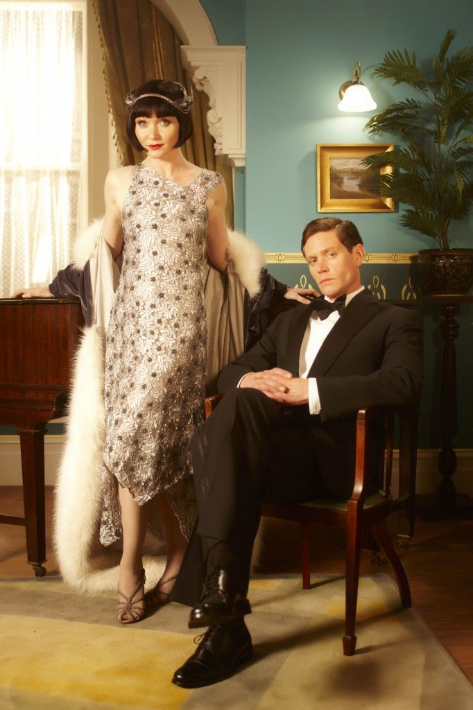 Miss Fisher's Murder Mysteries_957_ Miss Phryne Fisher (Essie Davis) and Detective Inspector Jack Robinson (Nathan Page) Another wall shot!