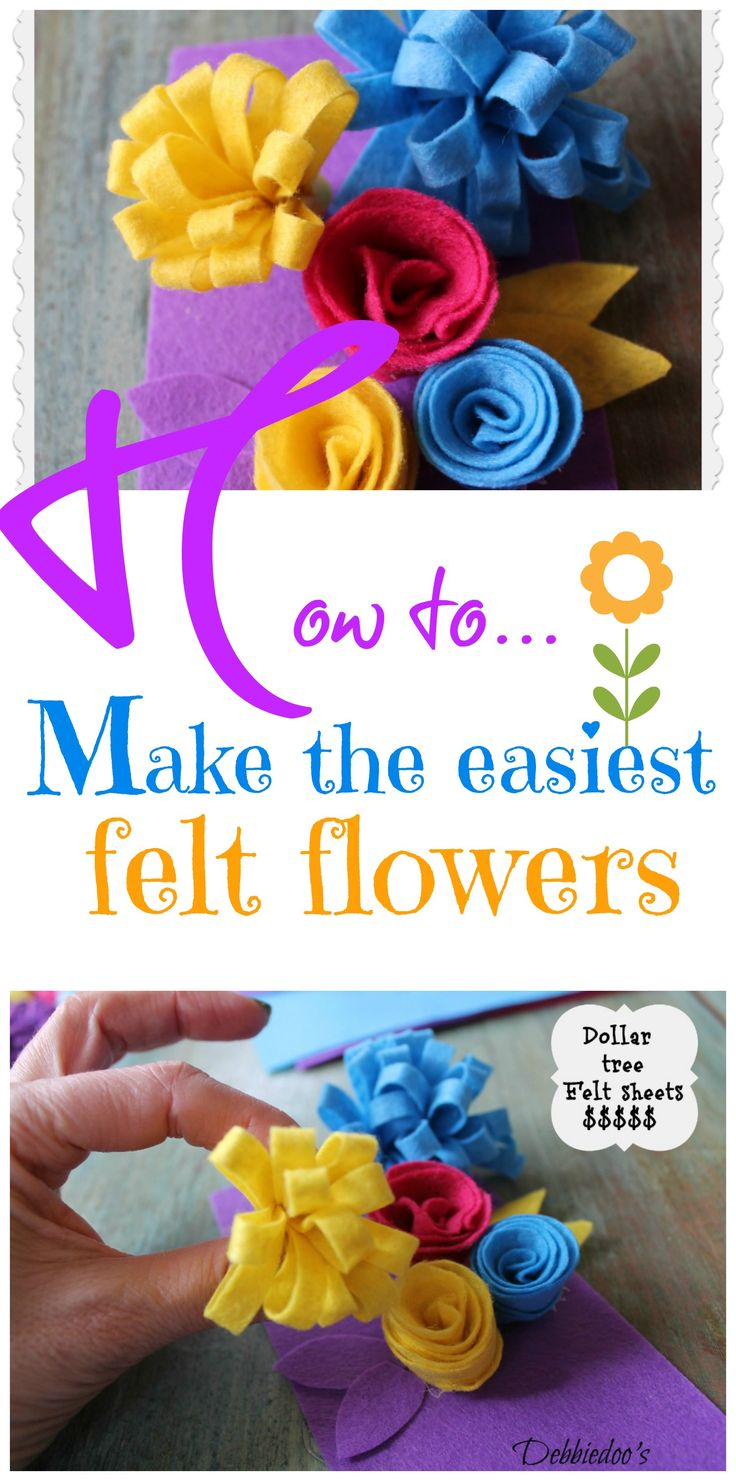 Learn how to make the easiest felt flowers. You can buy the pack of felt at the dollartree. Cute embellishments for wreaths, gifts and more!