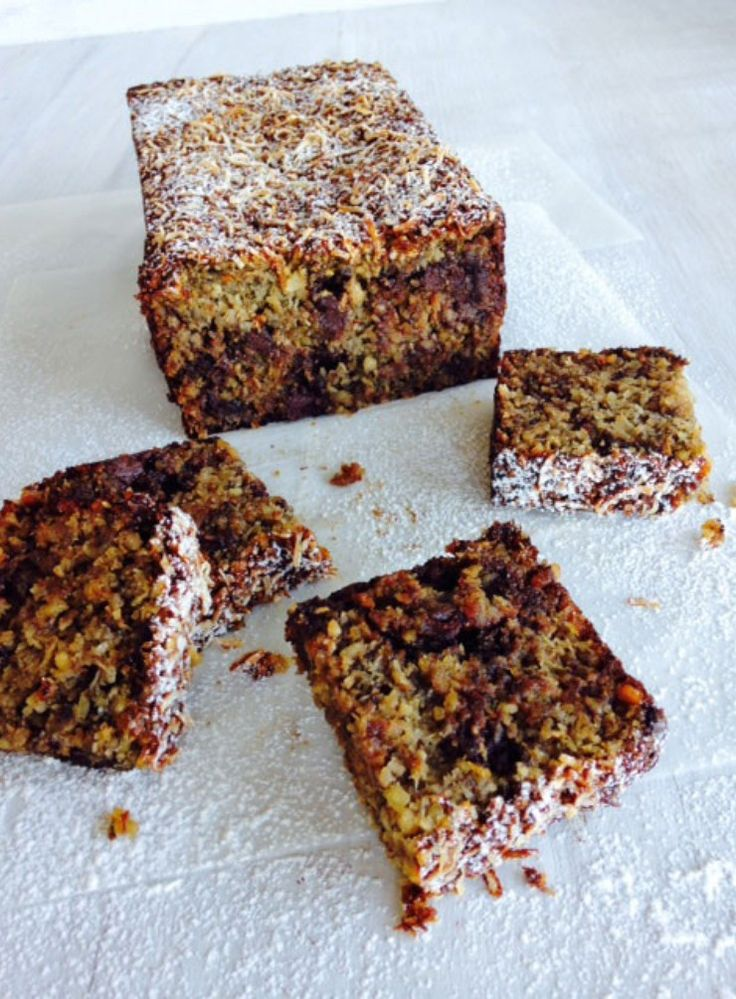 Banana, Roasted Peanut and Coconut Loaf with Dark Chocolate