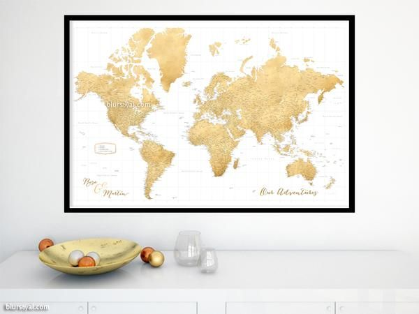 12 best large and highly detailed world map prints on paper personalized world map print highly detailed map with cities in faux gold foil effect gumiabroncs Image collections