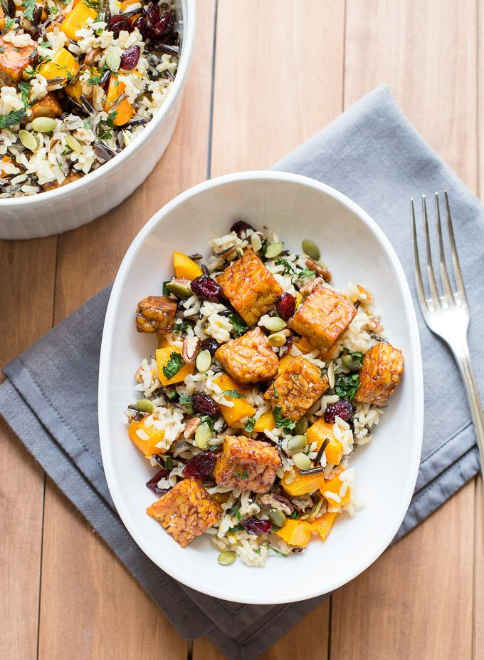 A wild rice and butternut squash salad with orange zest, cranberries, pecans and maple-chili tempeh. | The Joyful Hearth
