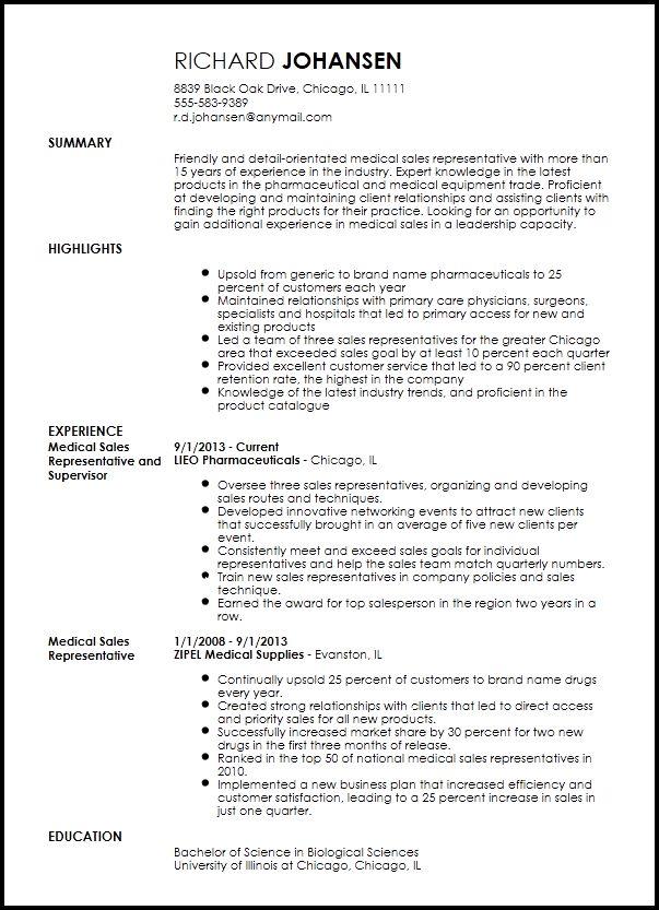 Gp Sales Representative Resume - The best expert's estimate