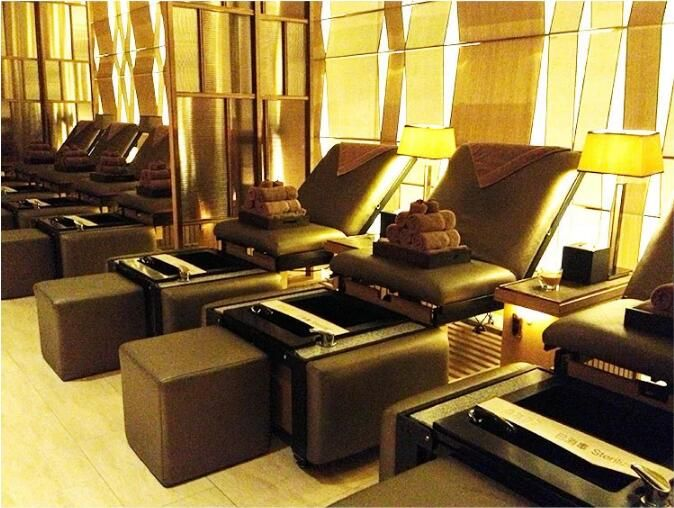 Folded Manicure Pedicure Chairs Foot Spa Massage Station Salon Bed With Bowls Beauty Spa Equipment Hair Salon F Salon Furniture Spa Massage Spa Pedicure Chairs