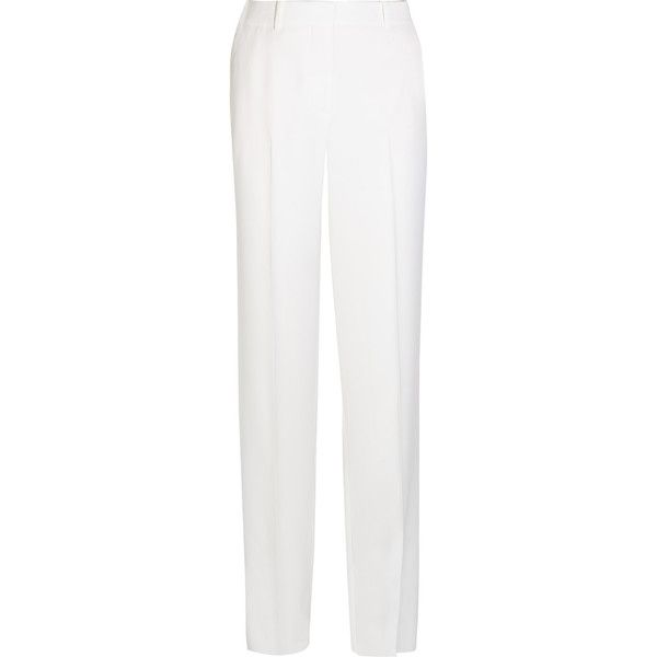 Givenchy Wide-leg tuxedo pants in white satin-crepe (£590) ❤ liked on Polyvore featuring pants, givenchy, trousers, white, white satin pants, white wide leg trousers, tuxedo pants and tuxedo trousers