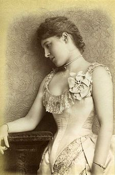 "Lillie Langtry, August 1885.  A British stage actress and singer, she was known as a ""Royal Mistress"" for her affairs with the Earl of Shrewsburgy, Prince Louis of Battenburg, and Albert, Prince of Wales."