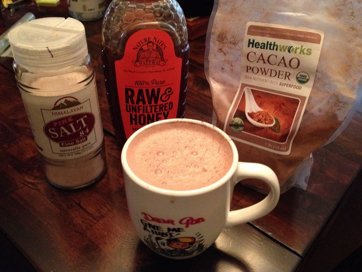 Healthful hot cocoa.  Almond milk, raw organic cacao, raw honey, and Himalayan salt.   Heat the almond milk till scalding. Add one pinch of salt, raw cacao to taste (I use 2 heaping tablespoons), honey to taste (I use 1 tablespoon), stir or whisk till frothy. Enjoy! Knowing that even though you're still getting calories you're doing a good thing for your body.