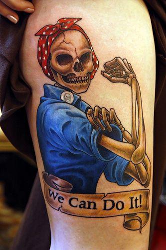 .}Tattoo{.Tattoo Ideas, Awesome Tattoo, Skull Tattoo, Body Art, Tattoo Design, Pin Up Tattoo, Skeletons Tattoo, Rosie The Riveter, Tattoo Ink