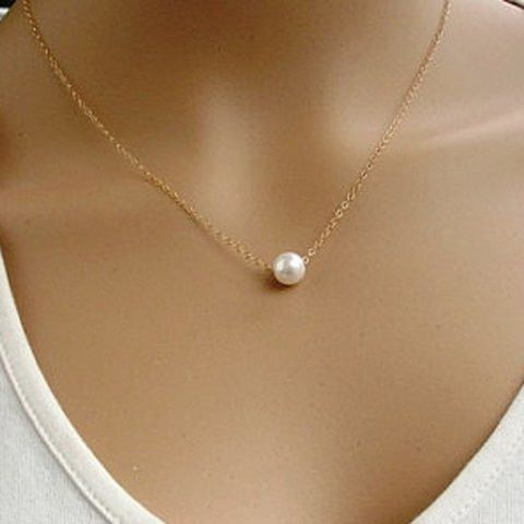 Chic Faux Pearl Pendant Simple Design Necklace For Women