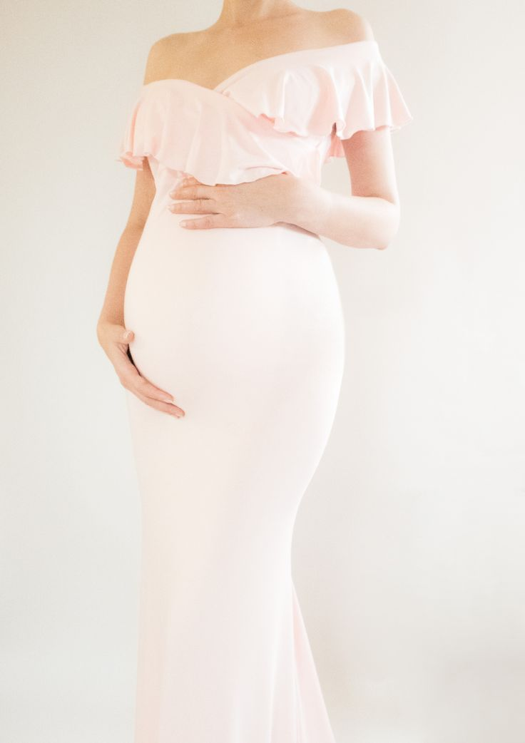 AVA maternity gown! Fitted Off Shoulder maternity gown! This gorgeous baby shower dress is a dream gown for any and every theme! #maternitydress #maternitygown #bayshowerideas #babyshower babyshowerdecor