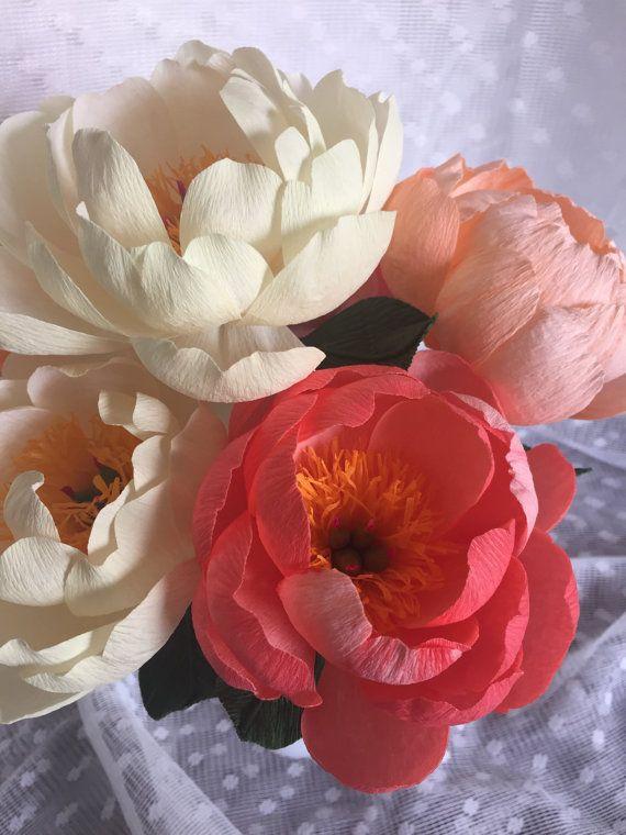 Flor de papel crepé - Set de 3 encanto Coral Peony - hecho a mano