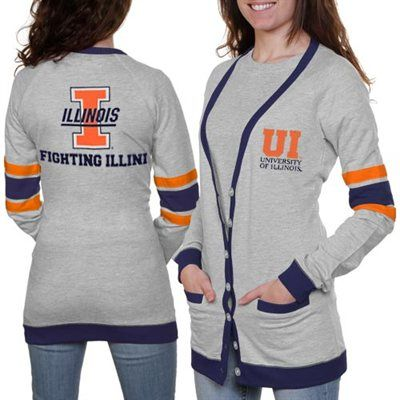 Illinois Fighting Illini Ladies Study Hall Long Sleeve Cardigan - Ash