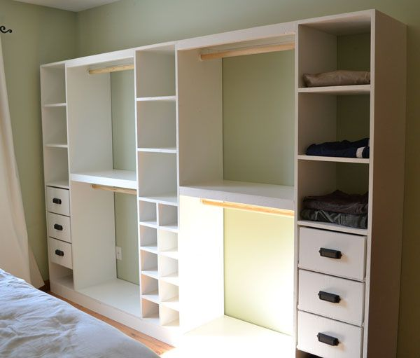 Build a Master Closet System | Free and Easy DIY Project and Furniture Plans - with a few tweaks, this could solve our no-closet-in-the-bedroom problem!
