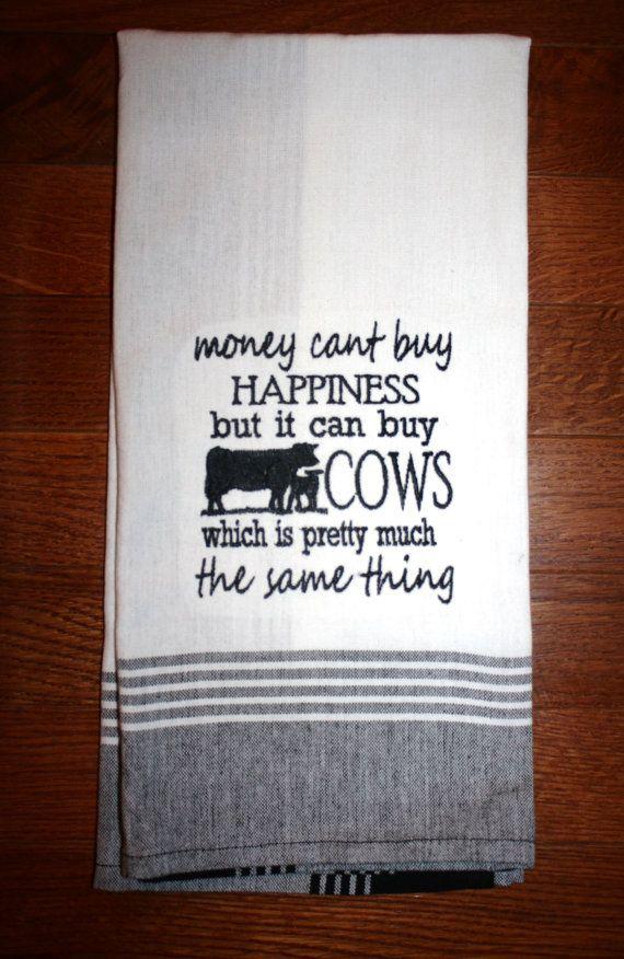money can buy cows tea towel ranch farm house towel by FARMDesigns
