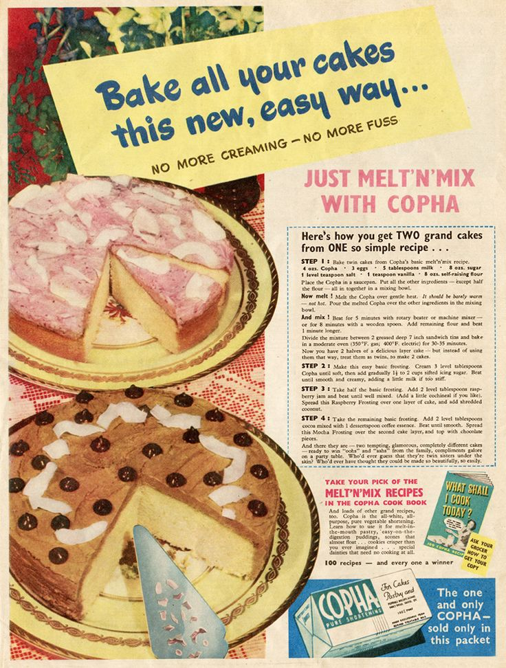I've never baked with Copha but I'll give it a go!  Copha1950sAd.jpg