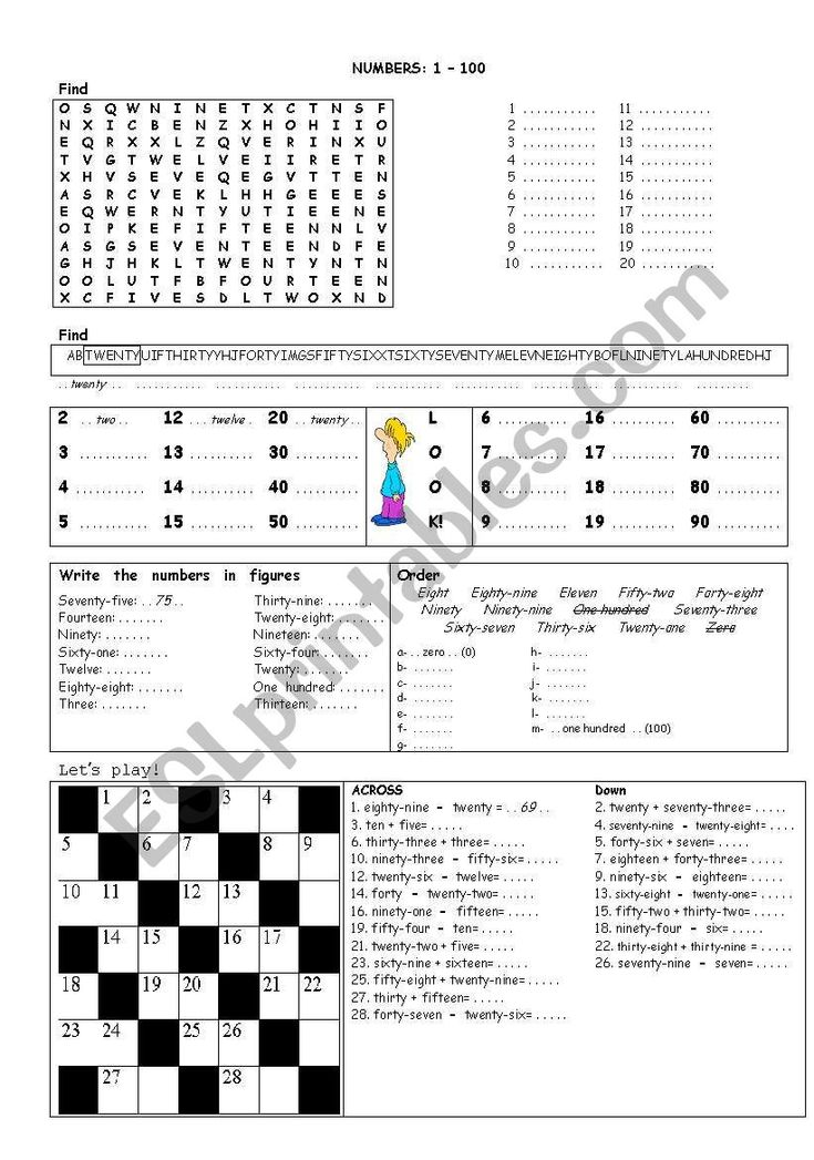 Numbers 1100 worksheet Word puzzles for kids