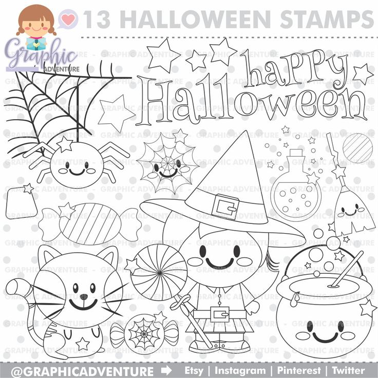 75%OFF - Halloween Stamp, COMMERCIAL USE, Digi Stamp, Digital Image, Halloween Digistamp, Halloween Coloring Page, Halloween Graphic, Stamps