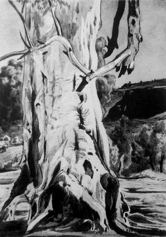 Albert Namatjira,The Ghost Gum, watercolour, signed and dated,1944
