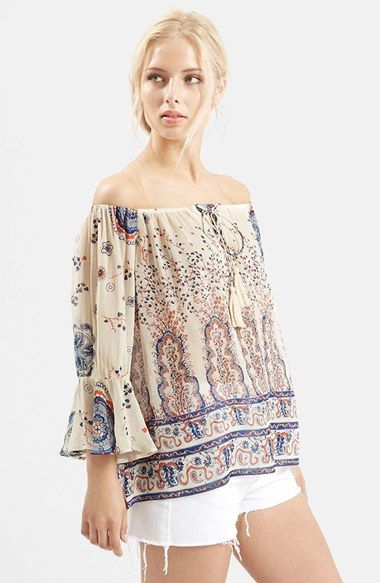 Topshop Off the Shoulder Paisley Peasant Top available at #Nordstrom