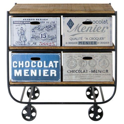 Servierwagen aus Stahl und Mangoholz mit aufgedruckten Motiven, B 90 cm Rétro
