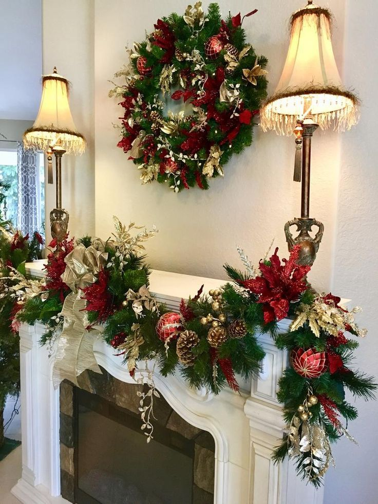 12 Amazing Fireplace Decoration Ideas That Will Make You Stay Home On Christmas Eve With Images Christmas Mantel Decorations Christmas Wreaths Christmas Garland