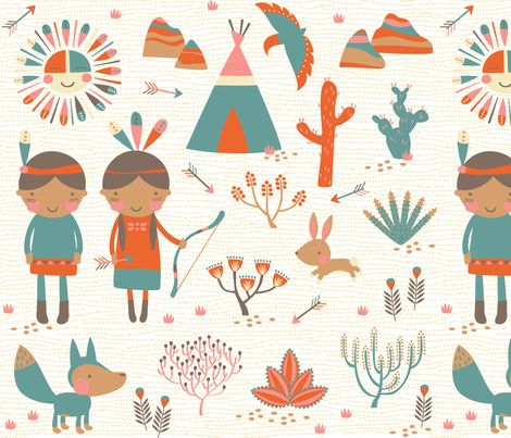 Southwestern // by petite_circus //  Baby Bedding cute kids nursery //  fabric - petite_circus - Spoonflower