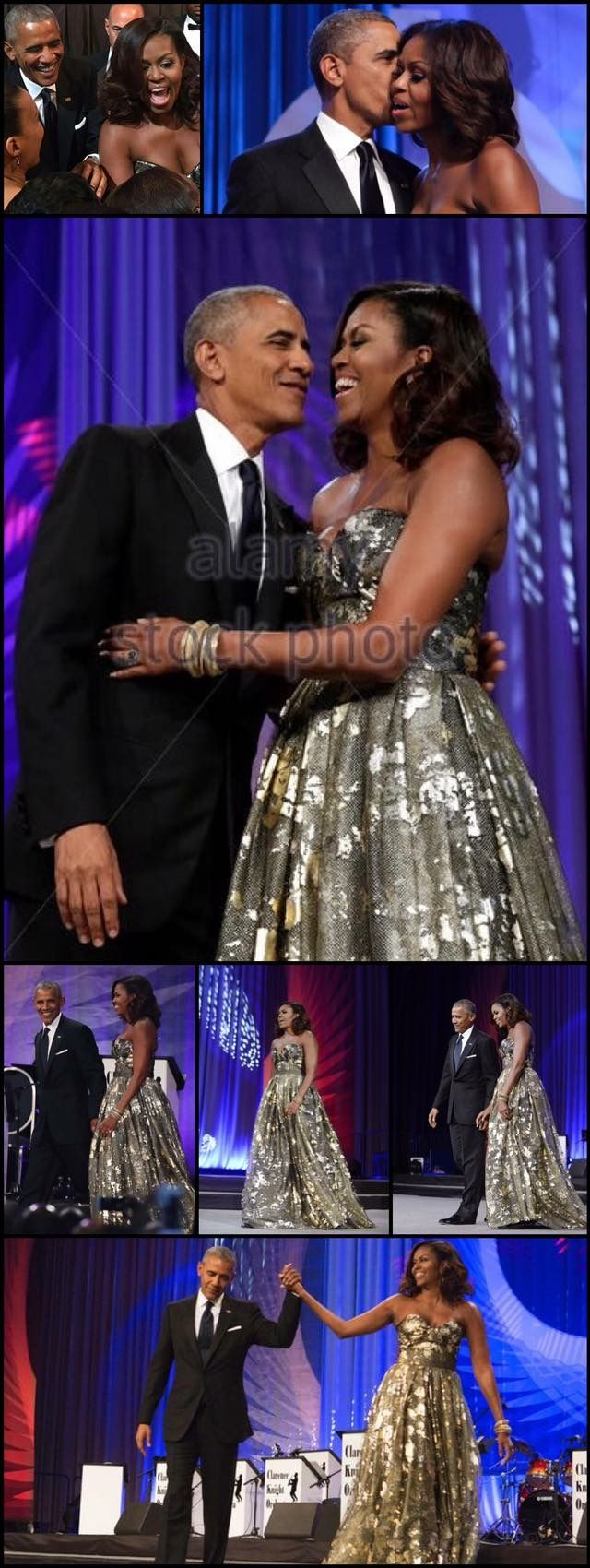 "September 18, 2016 #FINAL CONGRESSIONAL BLACK CAUCUS AWARD DINNER First Lady Michelle Obama Stuns in Gold at Congressional Black Caucus Awards Dinner *""President Obama said ""I've been so blessed to have a wife and a partner on this journey who makes it look so easy,"" he told the attendees, adding that Michelle has always been ""so strong and so honest and so beautiful and so smart."" #44thPresident #POTUS Of The United States Of America Commander In Chief #BarackObama"