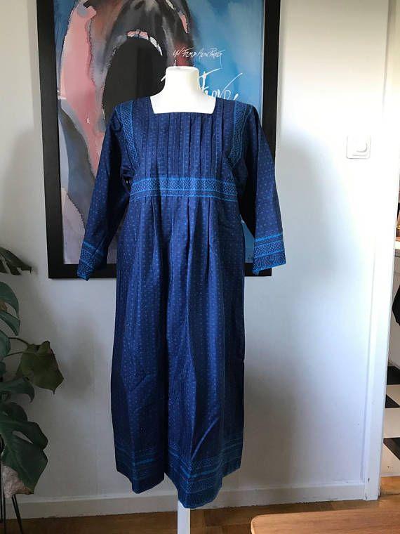 Vintage Marimekko Dress 1960-70 / Folklore Finland / Size 42