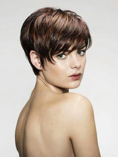 Copper highlights on dark pixie haircut