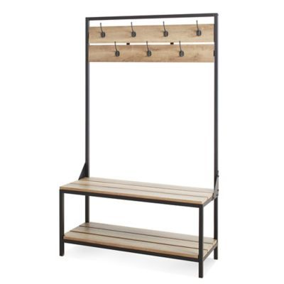 Add a rustic touch of charm to your entryway with the exceptional Chatham House Entryway Bench. Boasting a beautiful rustic brown finish, this functional bench features hanging hooks for coats and a lower shelf for shoe storage.