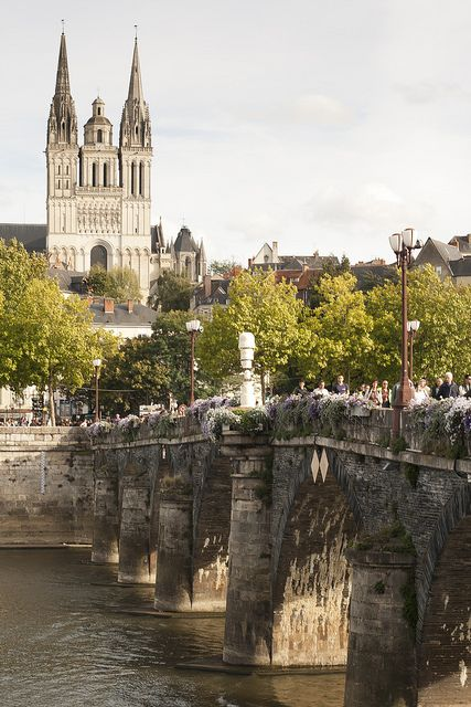 Pont de Verdun and the twelfth-century Cathedral of Saint-Maurice, Angers, France. Yep I live here! I can see the cathedral and chateau from my bedroom window in La Doutre :D