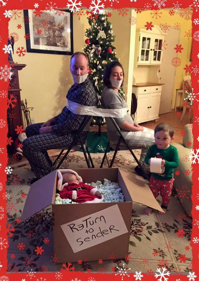 holiday card- little boy returning his new sister to sender