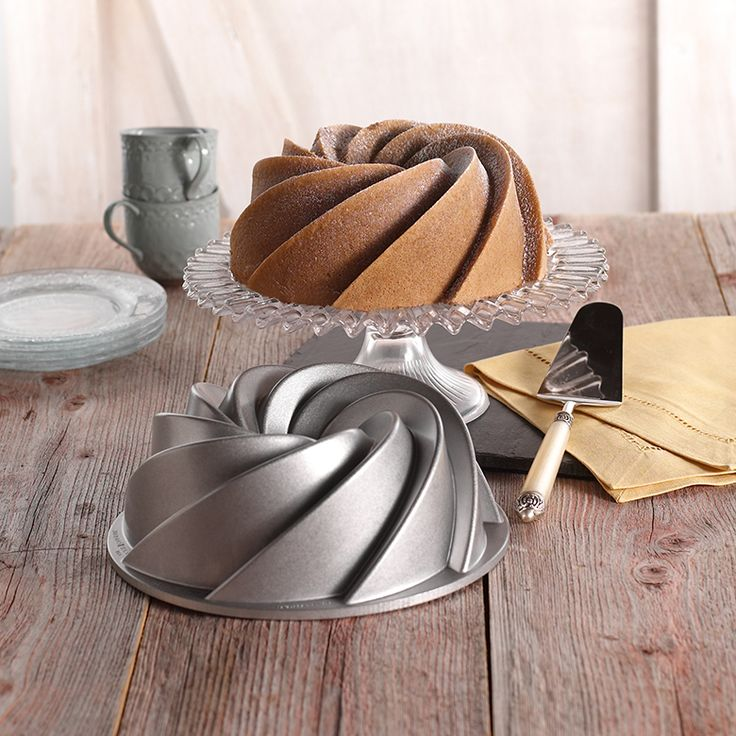 Heritage Bundt Pan  Want to show up with a stunning dessert with little effort? Get a gorgeous bundt pan such as this one. This one specifically lends itself nicely to glazes and it looks like you worked way harder than you actually did.
