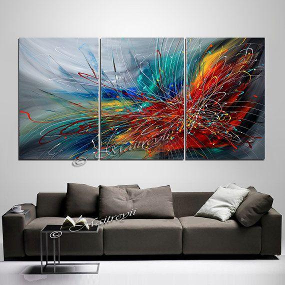 GRANDE parete pittura di arte astratta su tela olio Wall Decor