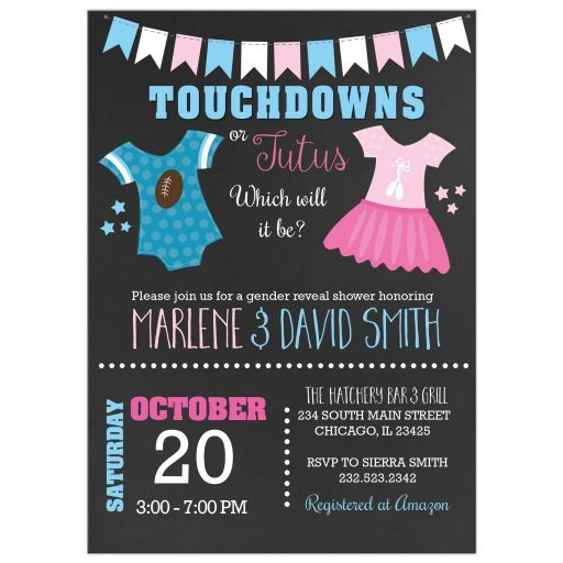 138 best invitation designers clique images on pinterest touchdowns or tutus gender reveal baby shower invitations stopboris Gallery