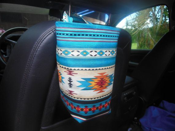 Large bucket Southwestern car trash by teniamariecreations on Etsy