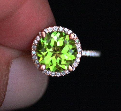 Peridot Engagement Ring Peridot Wedding Ring by Twoperidotbirds