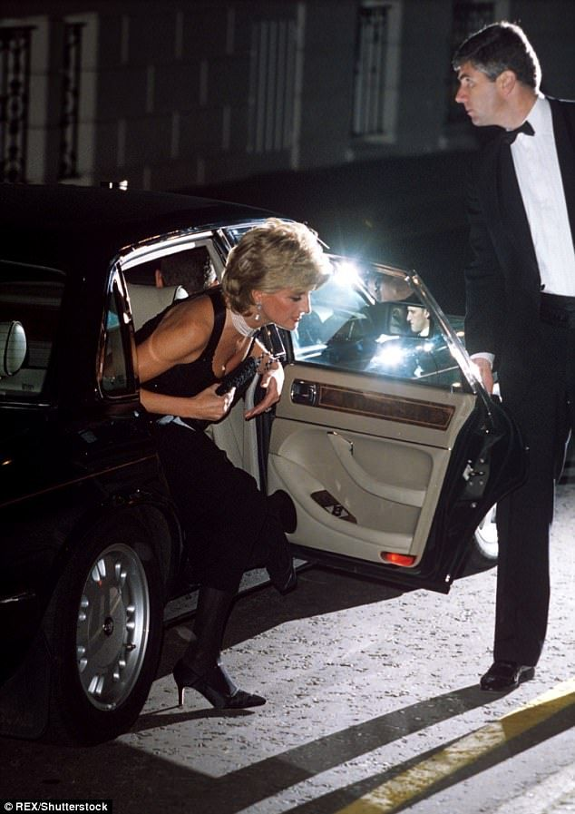 Diana arriving at a Gala Charity Dinner at Bridgewater House in London in 1995