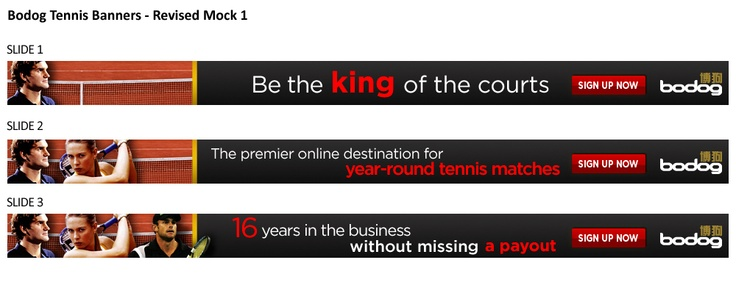 Bodog Tennis banner ads for the Bodog China website - Animated Gif
