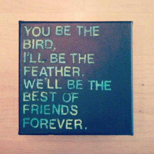 """you be the bird, i'll be the feather. we'll be the best of friends forever."" Lyrics from the song ""That's What's Up"" by Edward Sharpe and the Magnetic Zeros. #diy #canvas #quote"