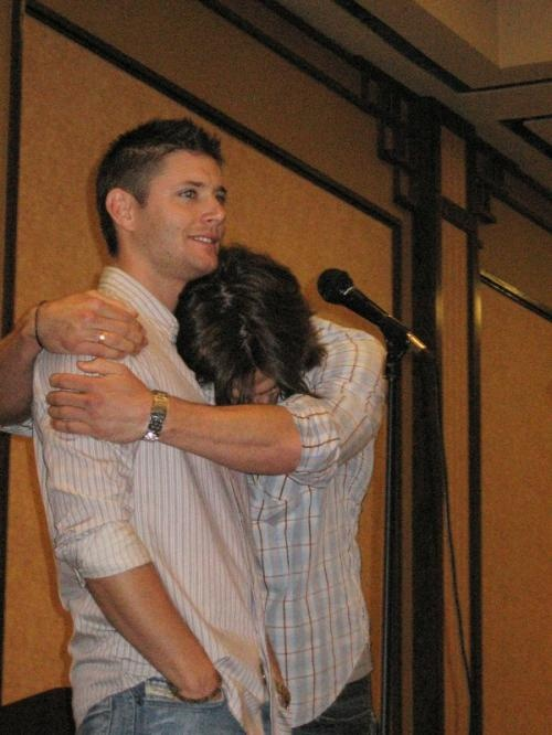 I love the way Jared is demonstrative, and Jensen just lets him glom onto him with so much patience.