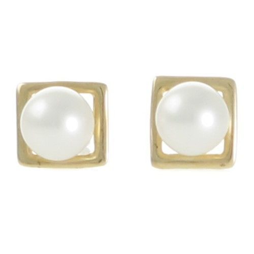 A pair of round white Freshwater pearl stud earrings in 14ct yellow gold. www.rutherford.com.au