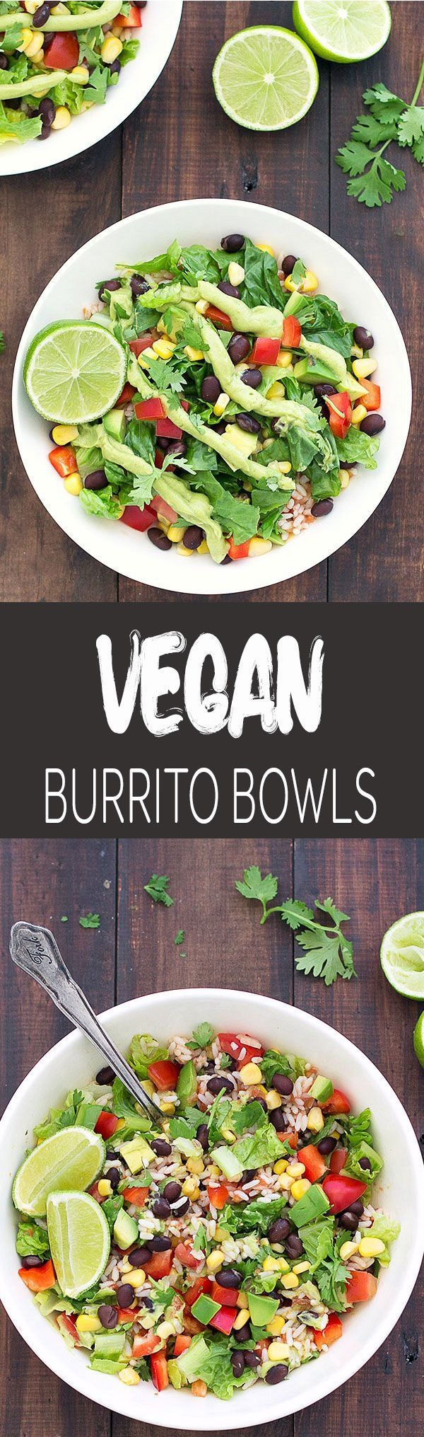 These vegan burrito salad bowls are super colorful, really easy to put together and packed with delicious Mexican flavor!
