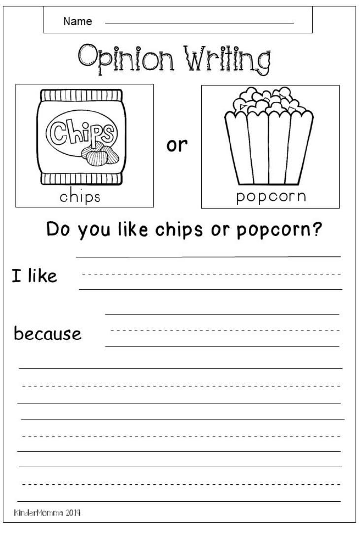 Free Opinion Writing Worksheet for Early Elementary ...