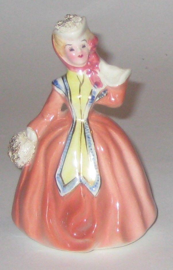 Victorian LADY Winter HAT Muff COAT Vintage NAPCO JAPAN Pottery FIGURINE
