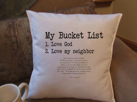 Christian bucket list decorative throw pillow by MinnieandMaude