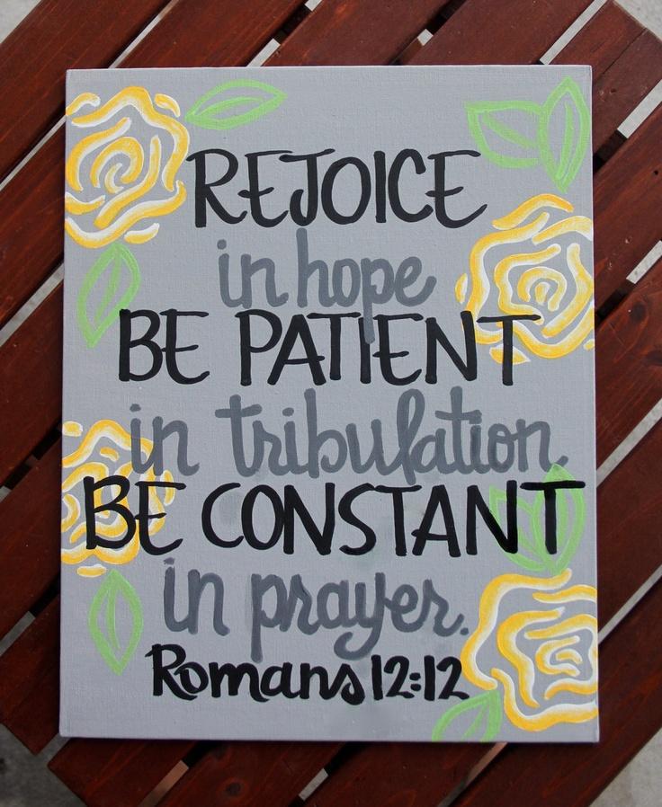 "Romans 12:12 Canvas Painting - 11""X14"". $28.00, via Etsy."