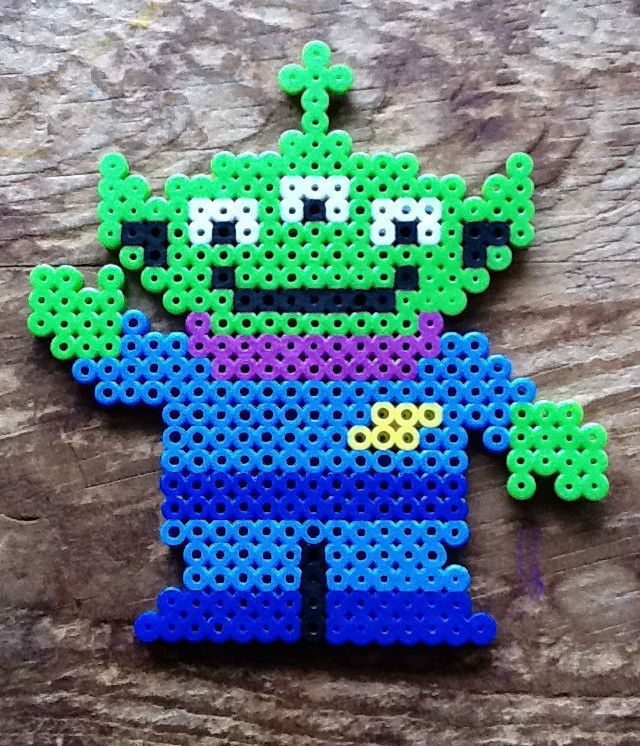 Toy Story Three Eyed Green Alien Perler Bead Sprite