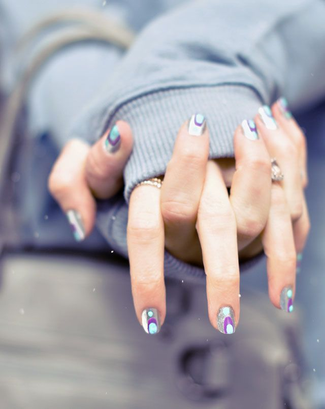 silver purple mint nails in the snow