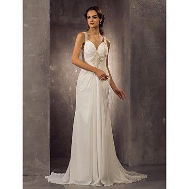 vestido de boda de la gasa del tren del barrido correas vaina / columna / cepillo (518931) – USD $ 249.99