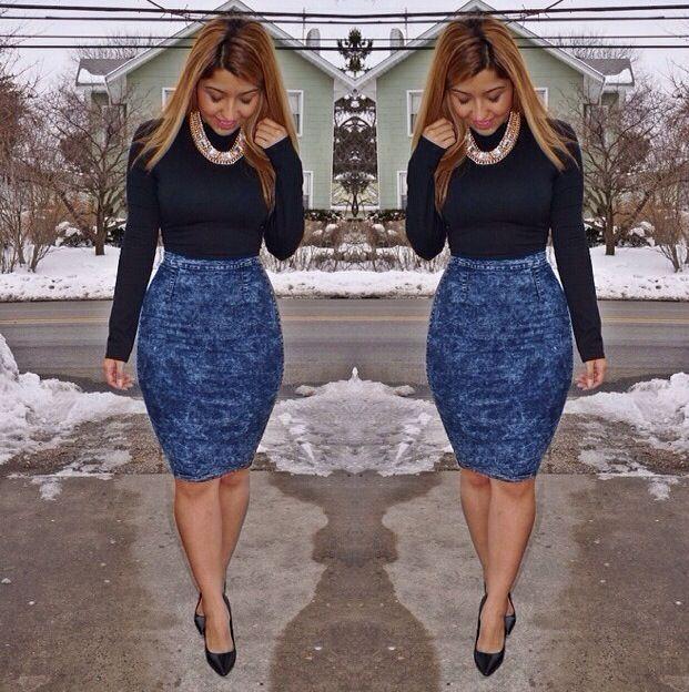 17 Best ideas about Denim Pencil Skirt on Pinterest   Double denim ...
